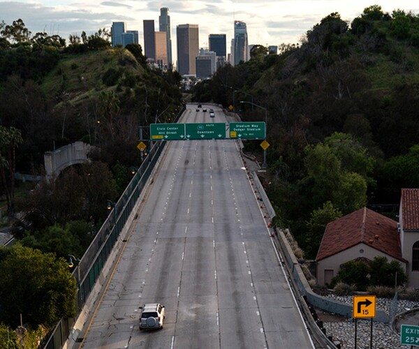 An empty Interstate 110 at rush hour in Los Angeles on April 10, 2020